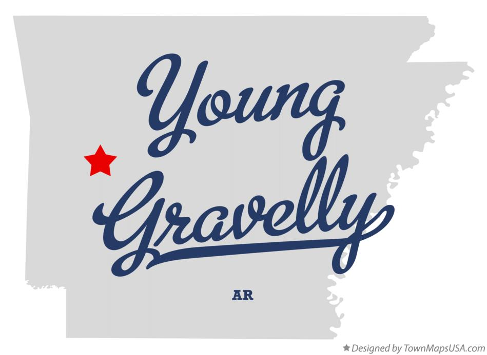 Map of Young Gravelly Arkansas AR