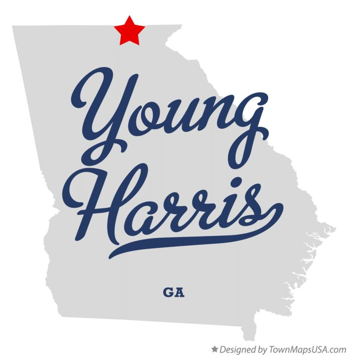 Map of Young Harris Georgia GA