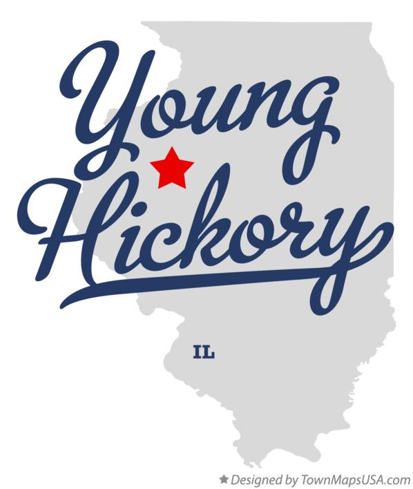 Map of Young Hickory Illinois IL
