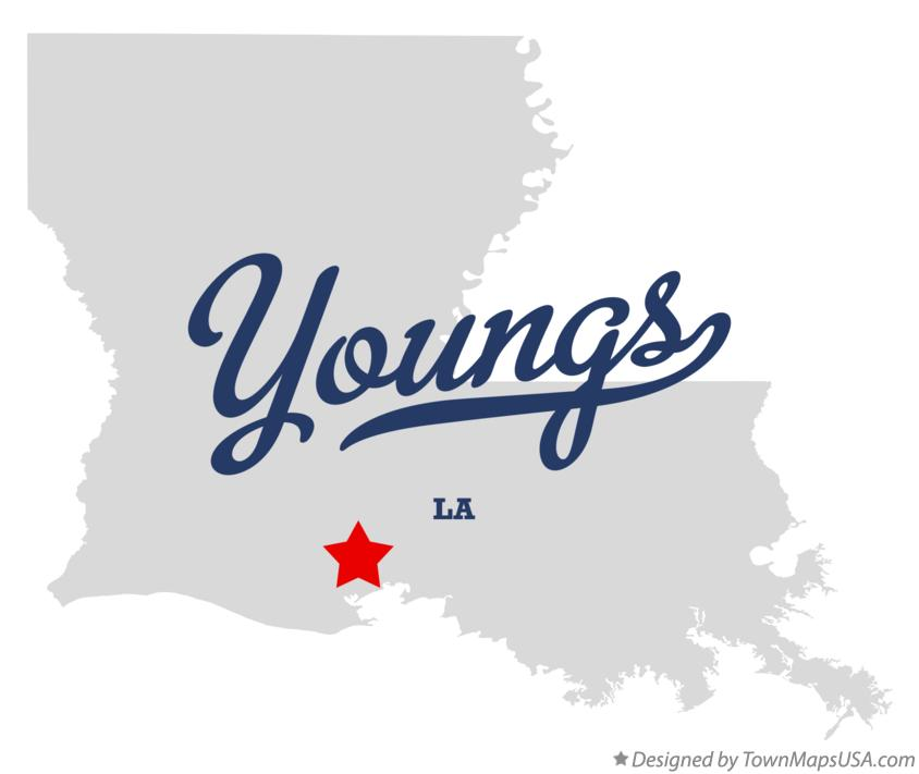 Map of Youngs Louisiana LA