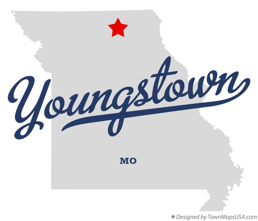 Map of Youngstown Missouri MO