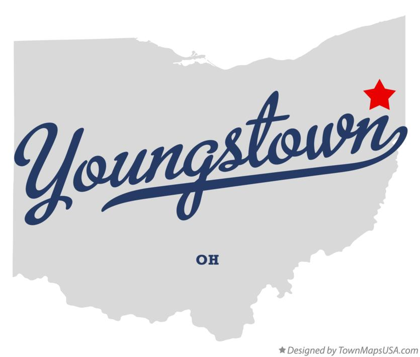 Map of Youngstown Ohio OH