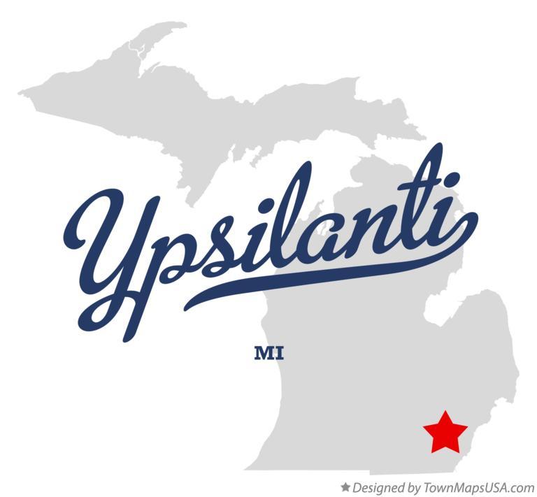 Map of Ypsilanti, MI, Michigan