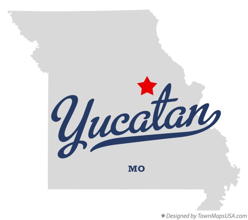Map of Yucatan Missouri MO