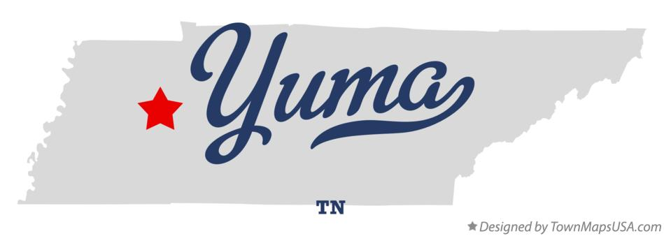 Map of Yuma Tennessee TN