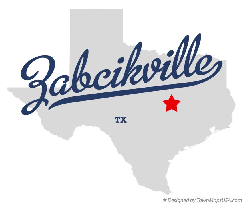 Map of Zabcikville Texas TX