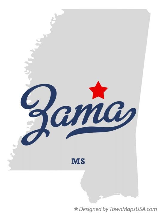 Map of Zama Mississippi MS