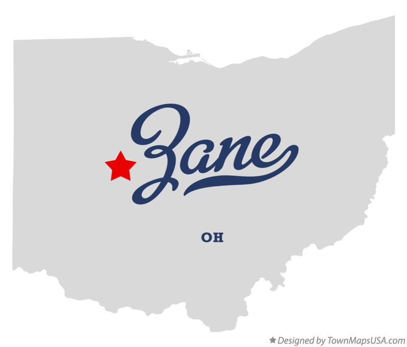 Map of Zane Ohio OH