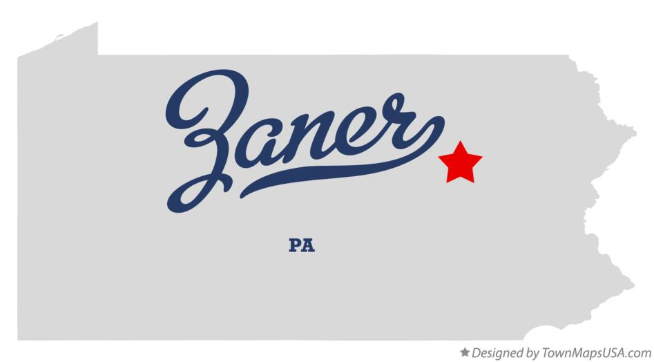 Map of Zaner Pennsylvania PA