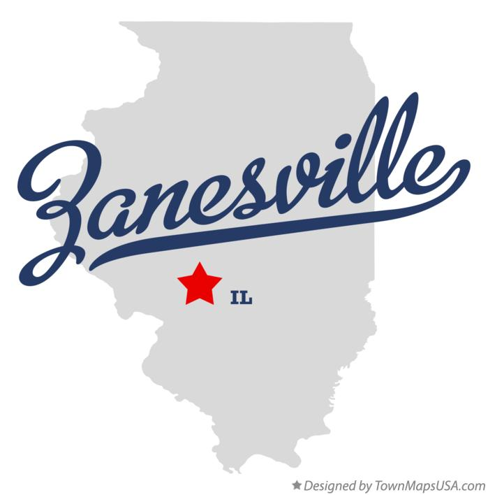Map of Zanesville Illinois IL