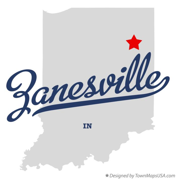 Map of Zanesville Indiana IN