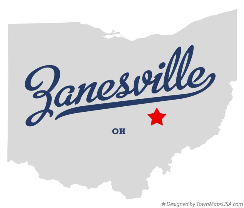 Map of Zanesville Ohio OH