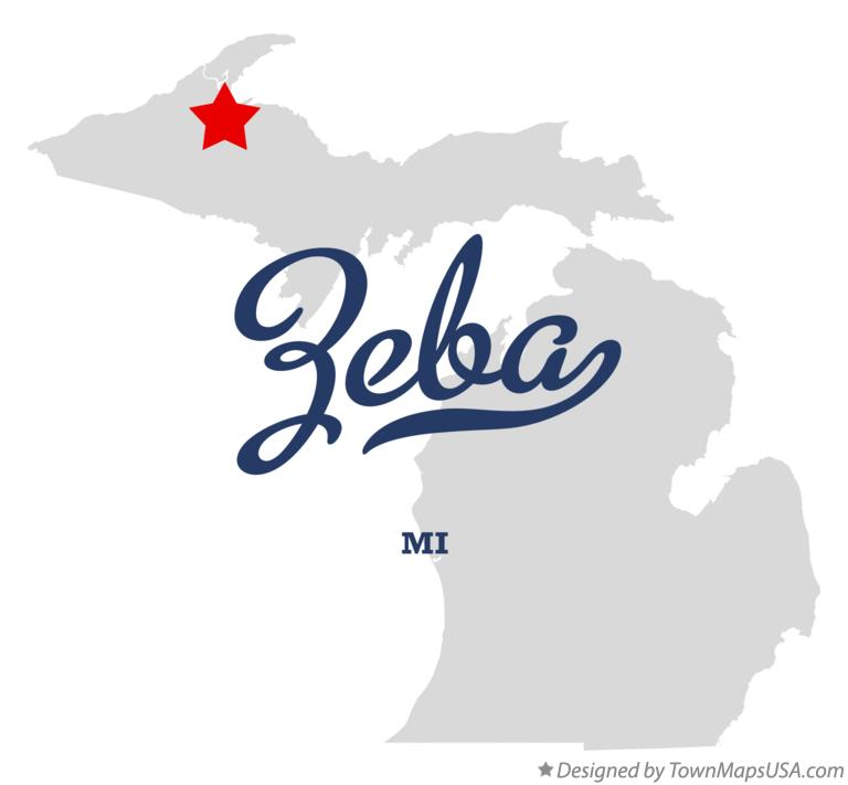 Map of Zeba Michigan MI