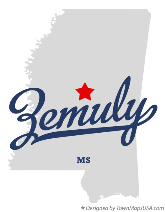 Map of Zemuly Mississippi MS