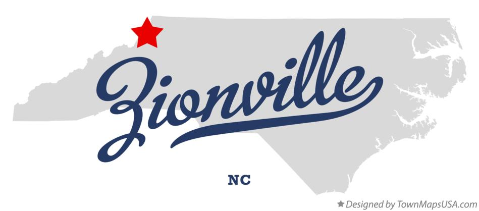 Map of Zionville North Carolina NC