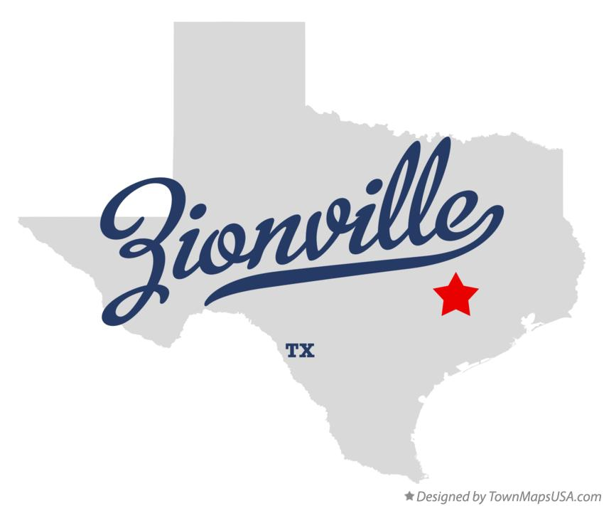 Map of Zionville Texas TX