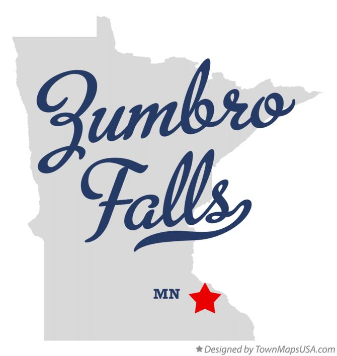 Map of Zumbro Falls Minnesota MN