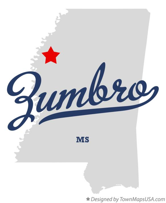 Map of Zumbro Mississippi MS