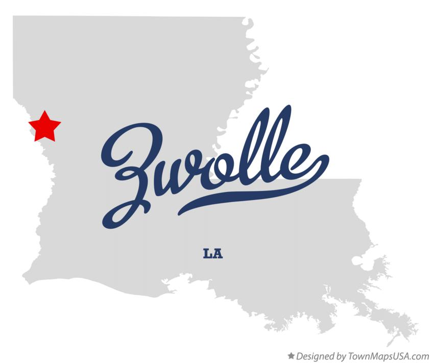 Map of Zwolle Louisiana LA