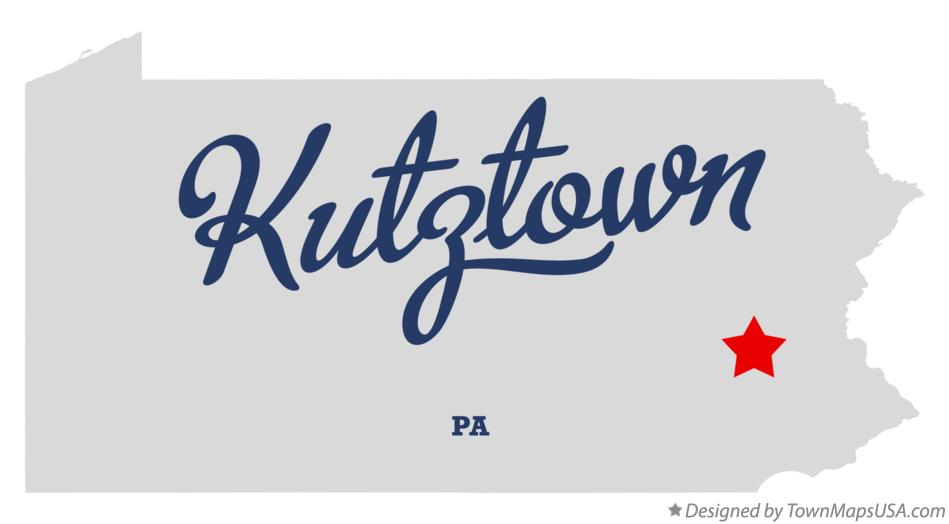 Map of Kutztown Pennsylvania PA