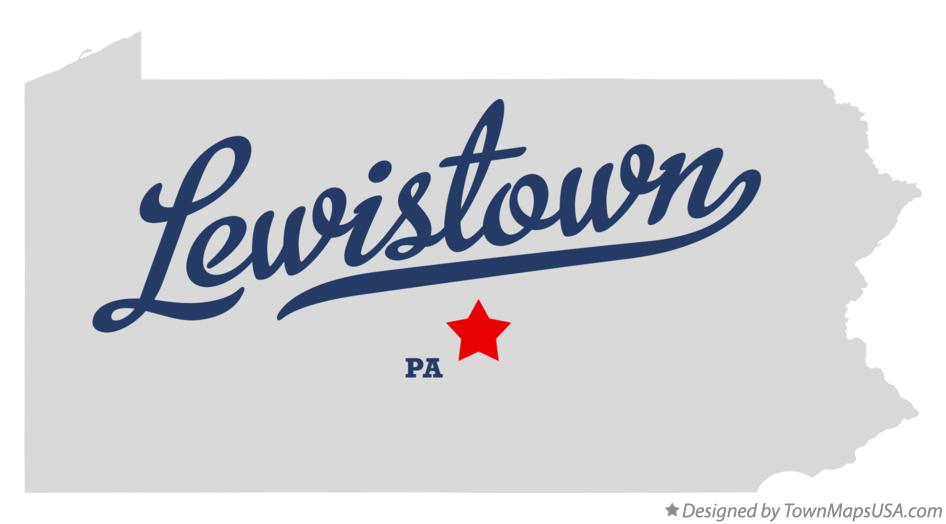 Map of Lewistown Pennsylvania PA